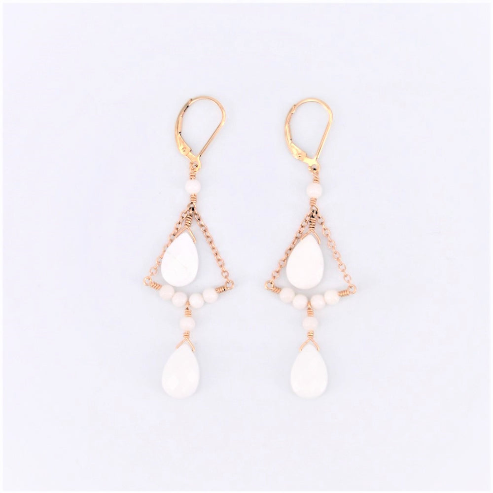 White Coral Chandelier Earrings
