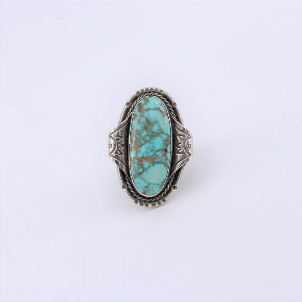 Large Adjustable Turquoise Ring with Detailed Bezel