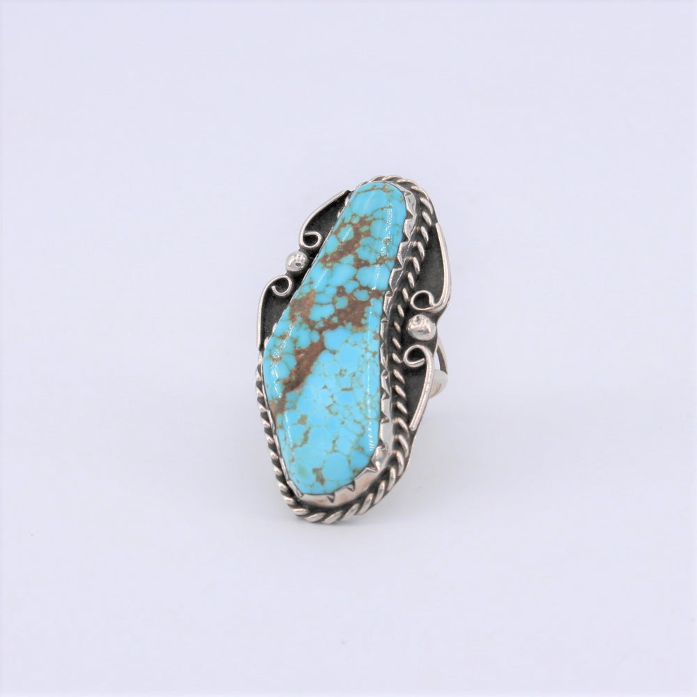 Long Turquoise Slab & Rope Ring
