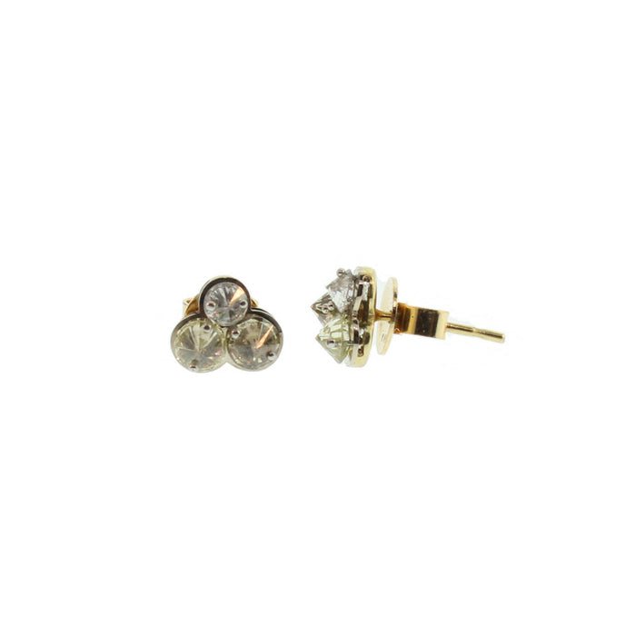 Triple Diamond Stud Earrings