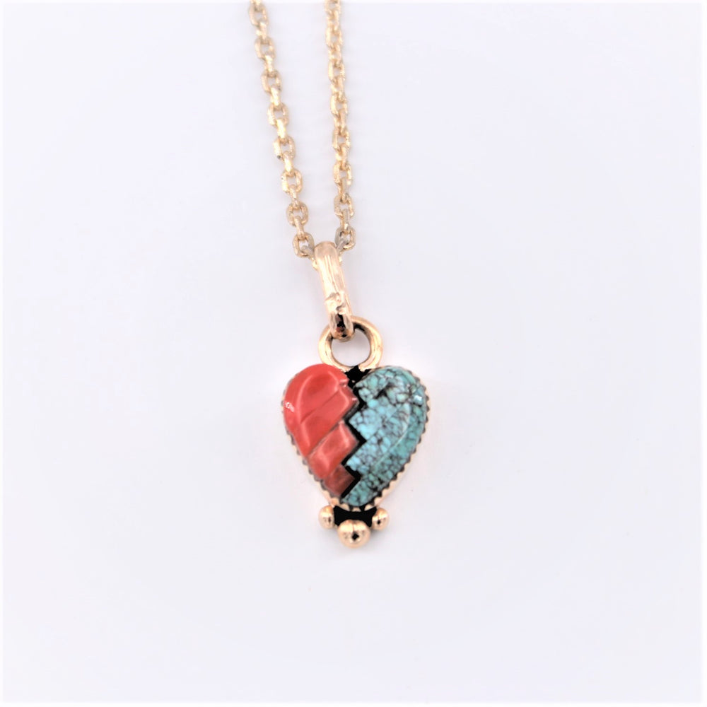 Coral Inlay Heart Pendant