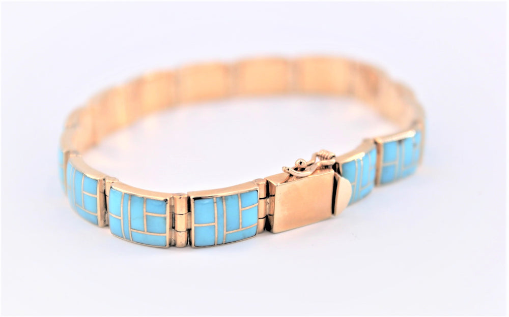 Wide Turquoise Inlay Bracelet