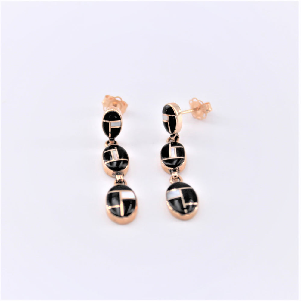 Black and White Triple Drop Earrings