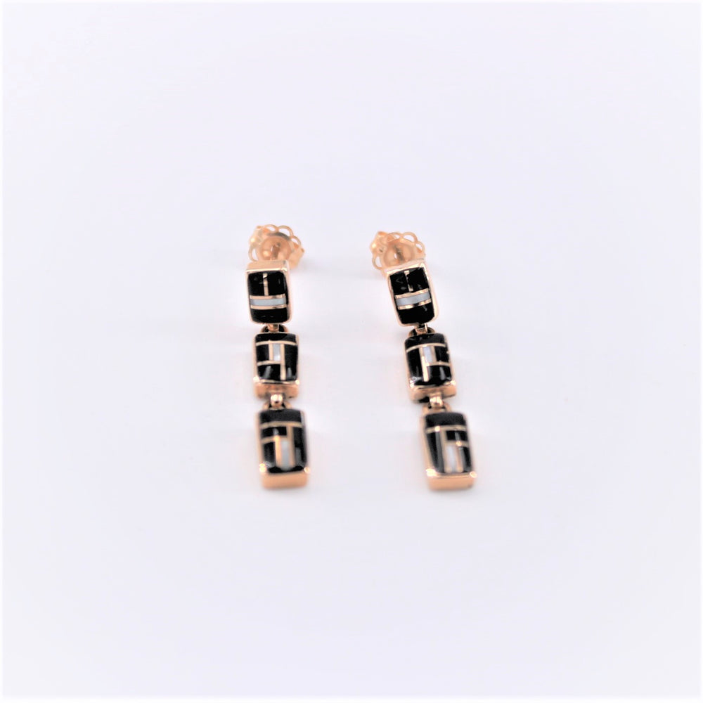 Black and White Triple Rectangle Earrings