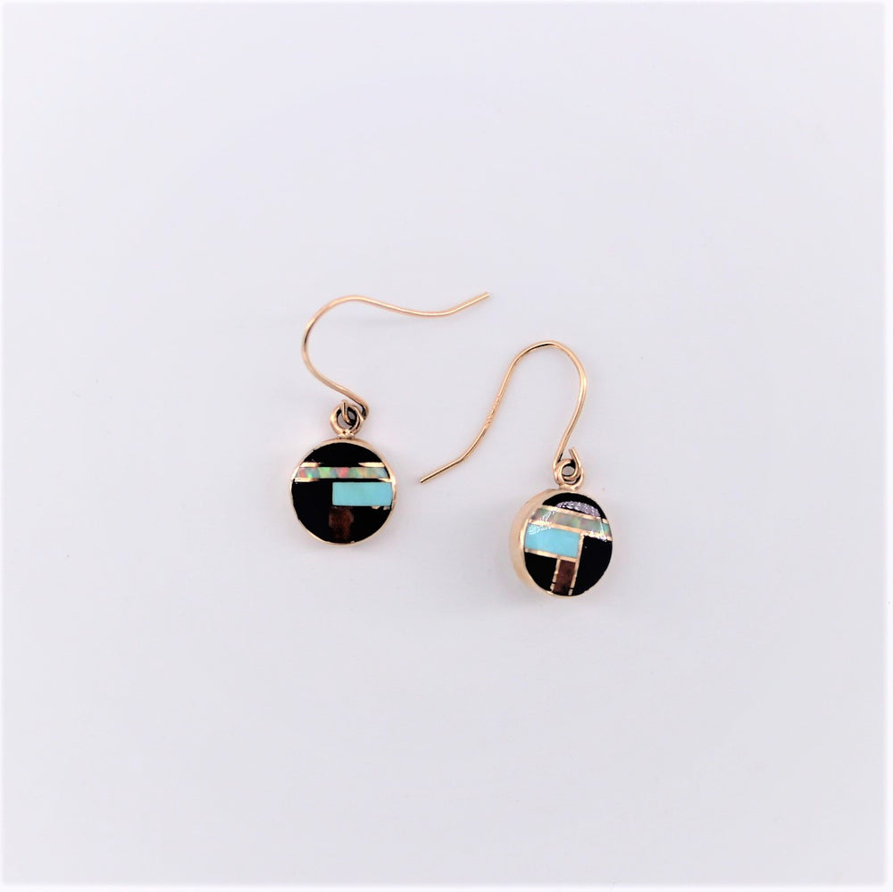 Multi Inlay Circle Drop Earrings