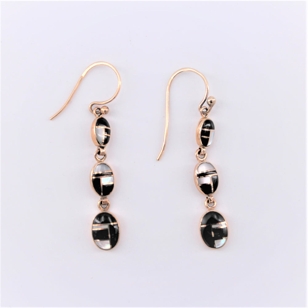 Black and White Oval Drop Earrings