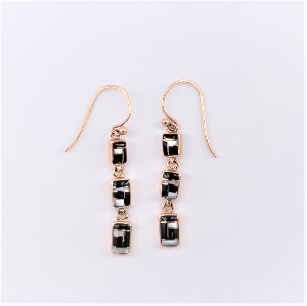 Black and White Rectangle Drop Earrings