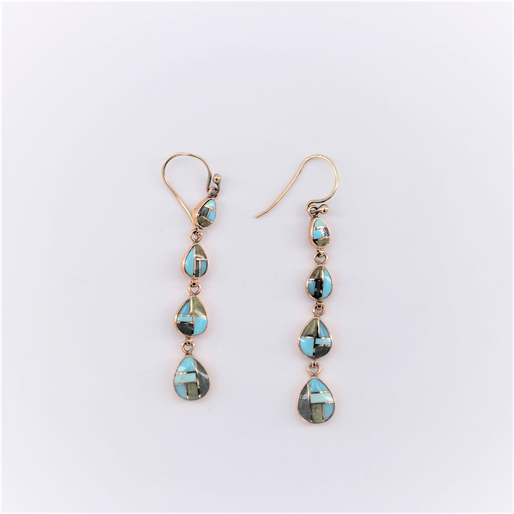 4 Blue Green Circle Drop Earrings