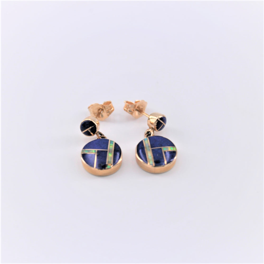 Lapis and Opal Inlay Earrings