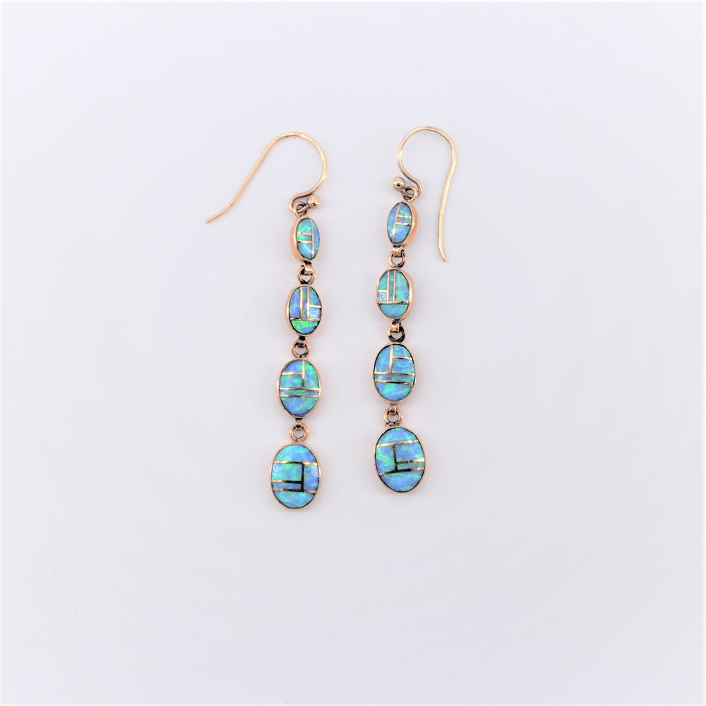 4 Blue Opal Oval Drop Earrings