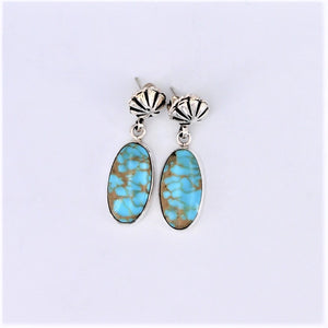 Sterling Silver Concho & Oval Turquoise Earrings