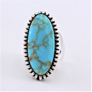 Oval Saw Cut Sterling Silver & Turquoise Ring