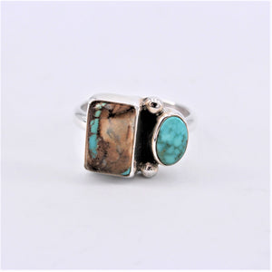 Sterling Silver & Boulder Turquoise Geometric Ring