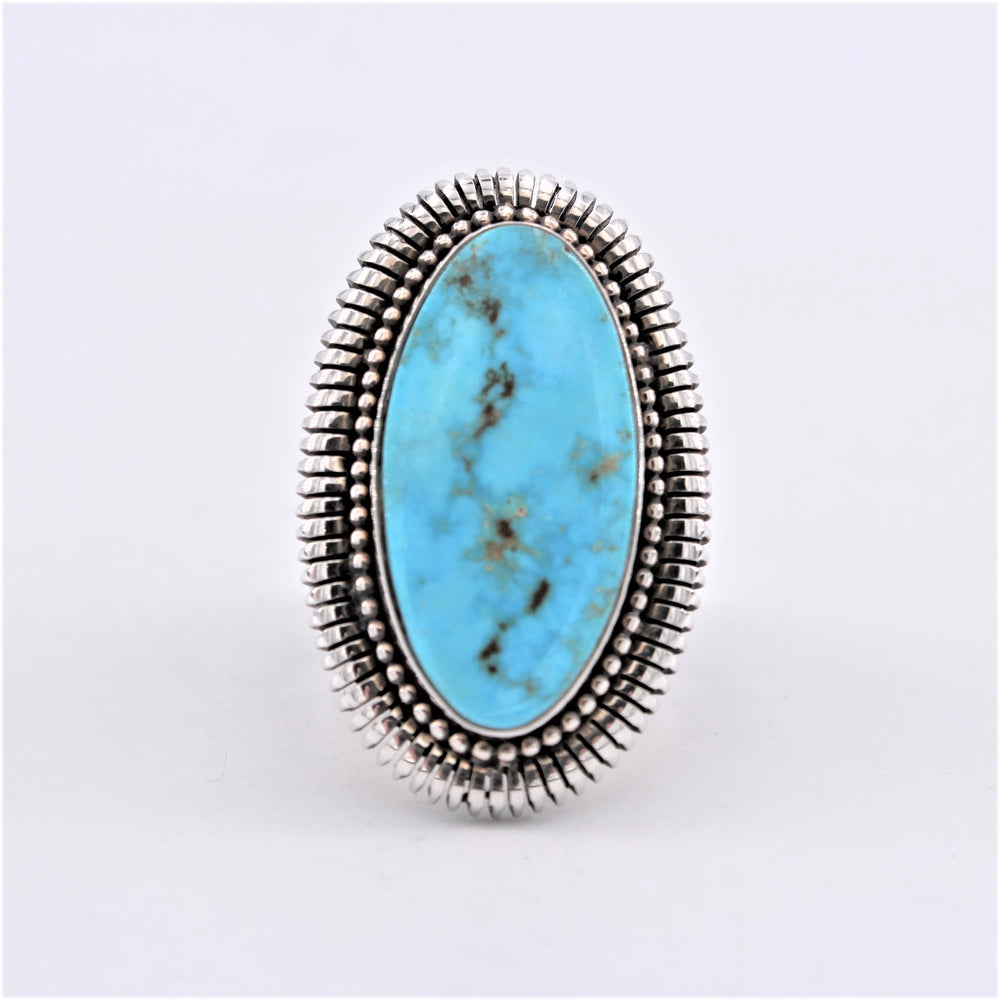 Saw Cut Sterling Silver & Turquoise Ring with Textured Band