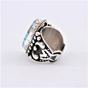Heavy Stamped Sterling Silver & Turquoise Ring