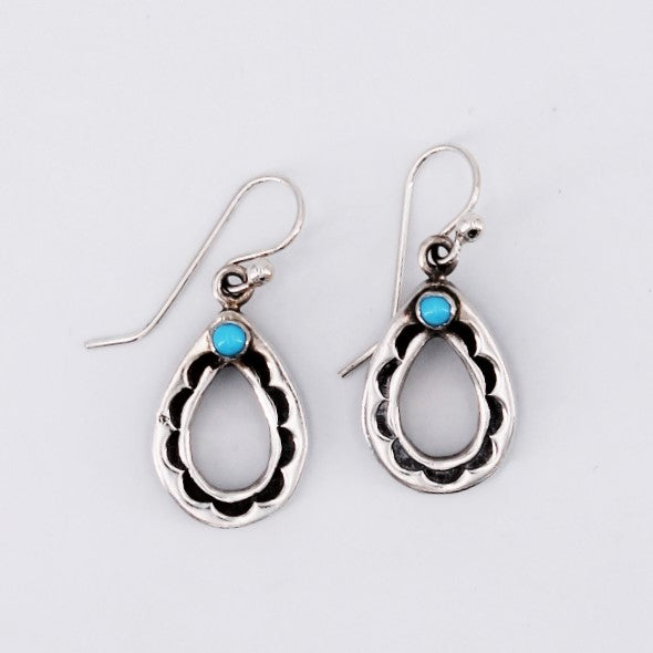 Stamped Sterling Silver & Turquoise Tear Drop Earrings
