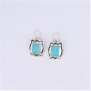 Stamped Sterling Silver & Turquoise Earrings