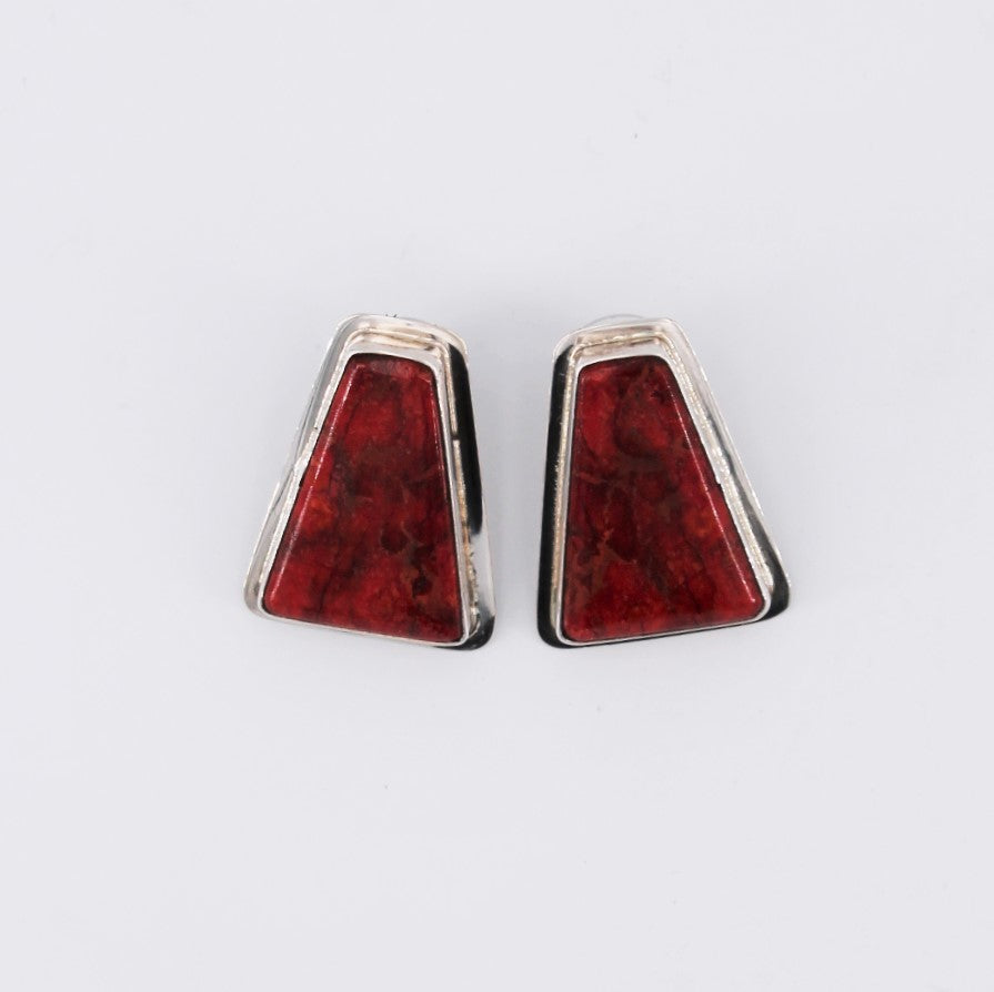 Extra Large Coral Trapezoid Stud Earrings