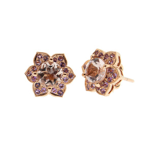 Morganite and Rose Gold Stud Earrings