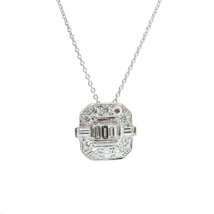 Rounded Square with Emerald Cut Diamond Necklace