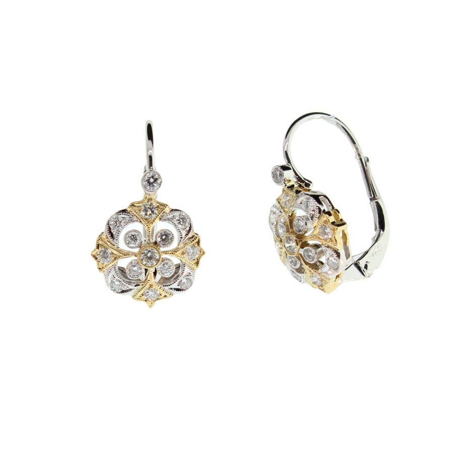 Yellow and White Gold Earrings