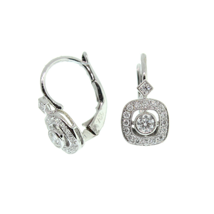 Small Cushion Diamond Earrings
