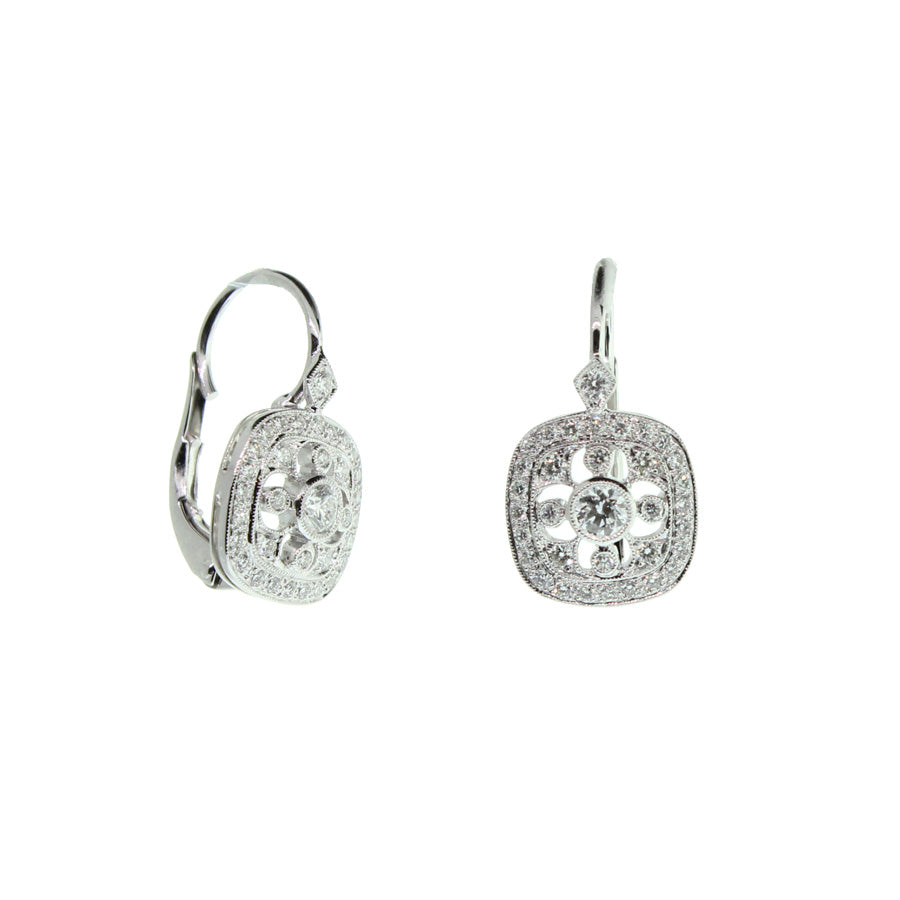 Rounded Square Pave Diamond Earrings