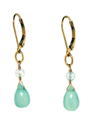 Calcite & Blue Topaz Drop Earrings