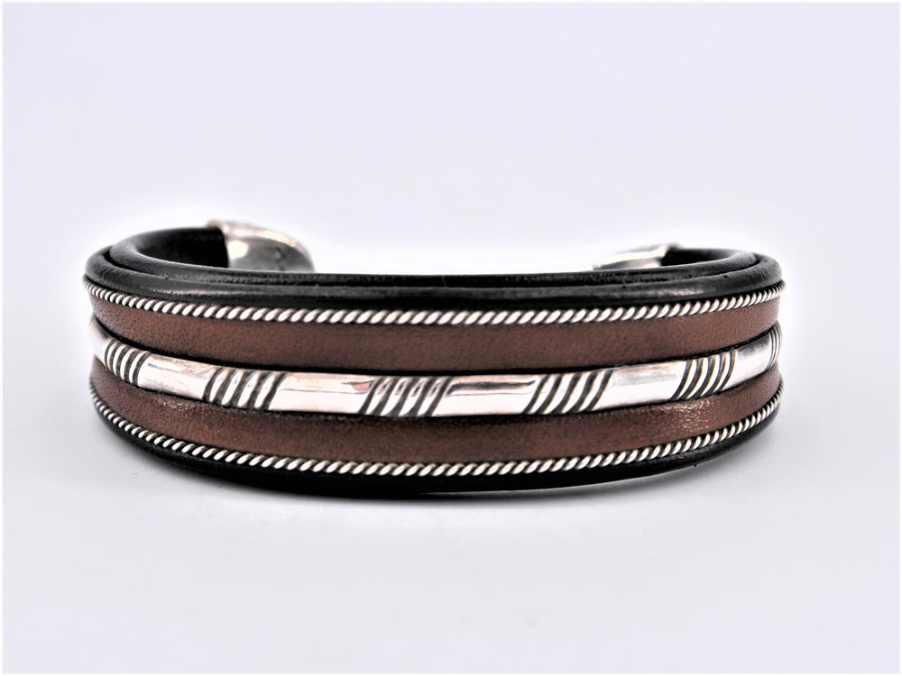 Leather and Patterned Wire Cuff