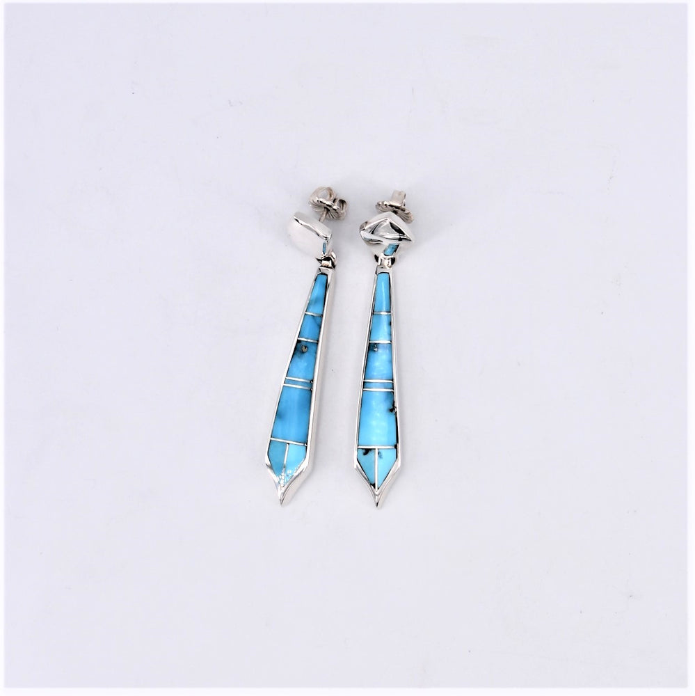 Turquoise Inlay Long Drop Earrings