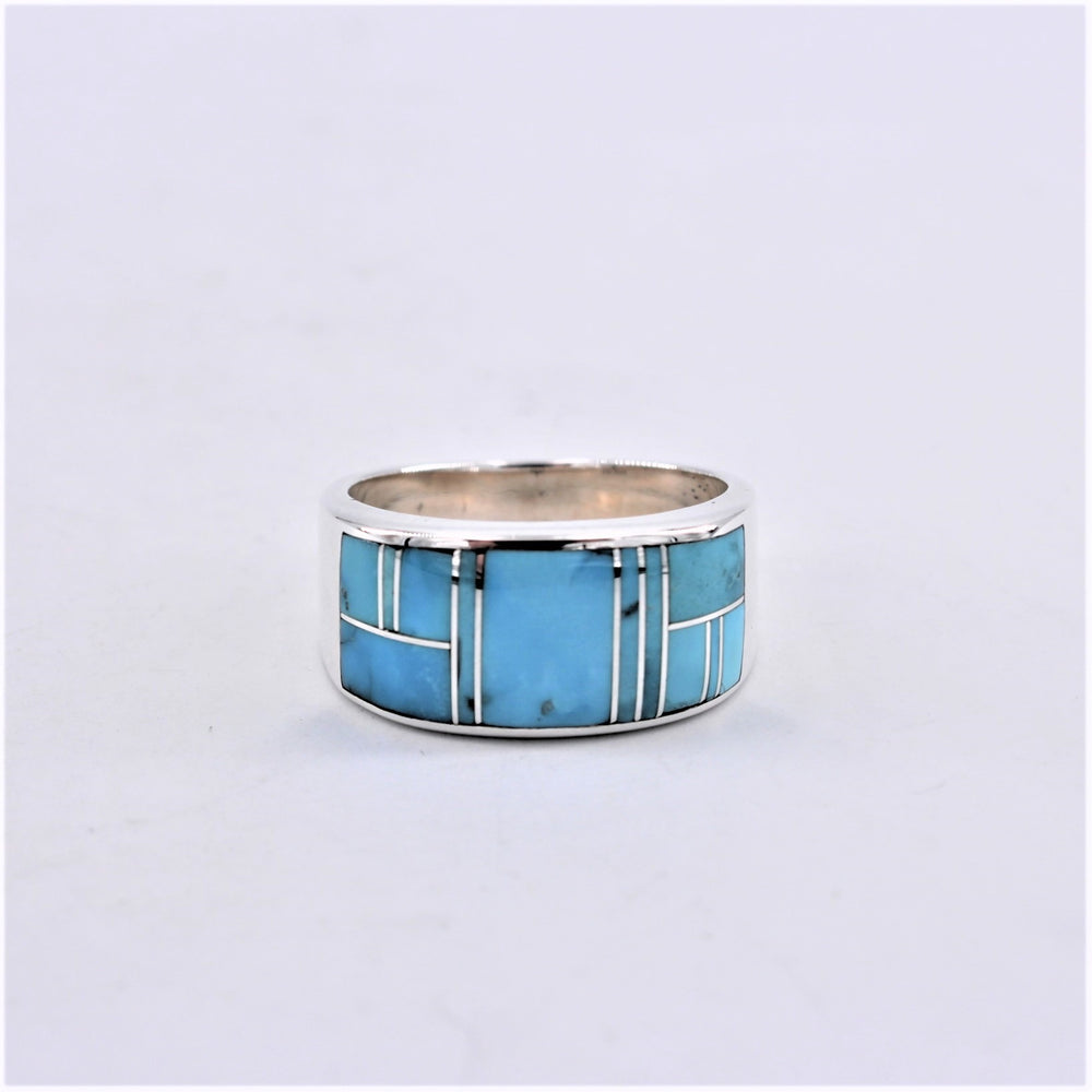 Turquoise Inlay Mens Ring