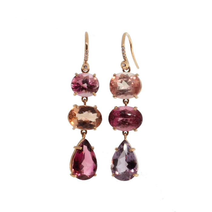Pink Tourmaline Earrings with Diamonds