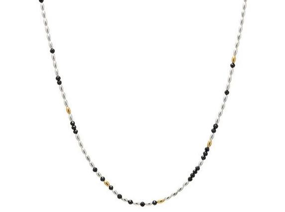 "Silver ""Olive"" Necklace, 'kissed' with 24k Gold, Faceted Black Spinel, 16-18"""