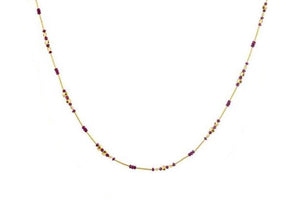 Rain Single Strand Beaded Necklace, Lentils and Rubies, 16""
