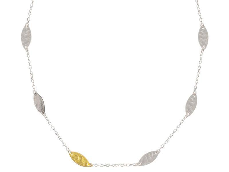 Willow Silver Station Necklace, Tri-Color 'kissed' with 24k Gold