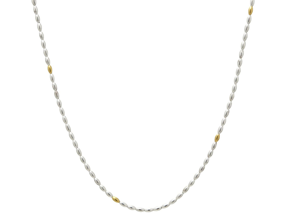 Olive Silver Necklace, 'kissed' with 24k Gold, 18""