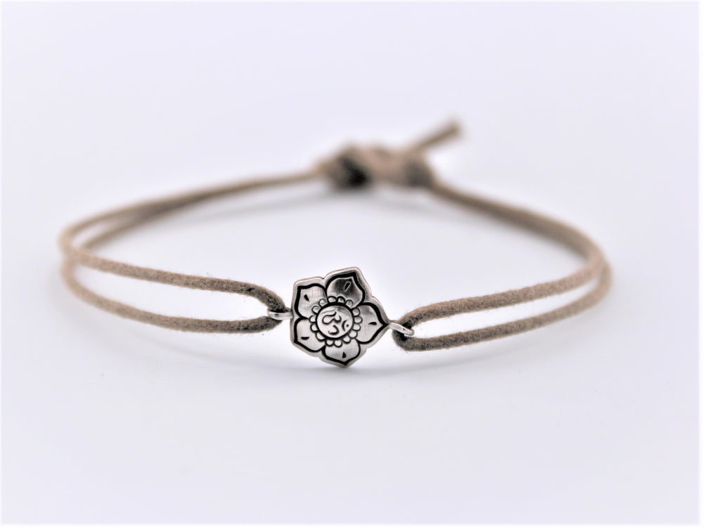 Leather OM Flower Bracelet