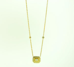 18K Emerald Cut Necklace