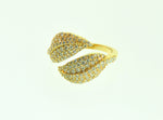 18K Diamond Leaf Ring