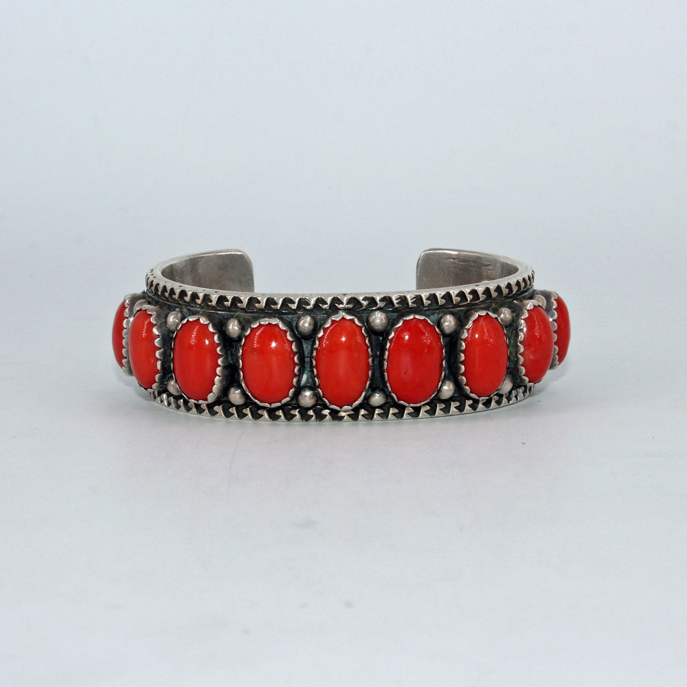 9 Stone Coral & Heavy Stamped Sterling Silver Cuff