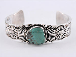 Heavy Stamped Sterling Silver & Turquoise Cuff