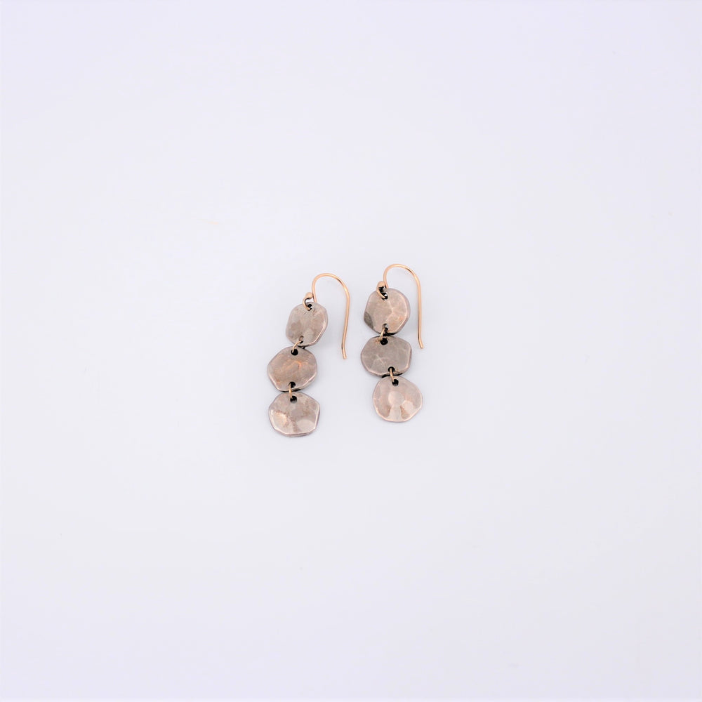 Triple Hammered Dangle Earrings