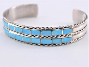 Skinny Sterling Silver & Sleeping Beauty Turquoise Inlay Cuff