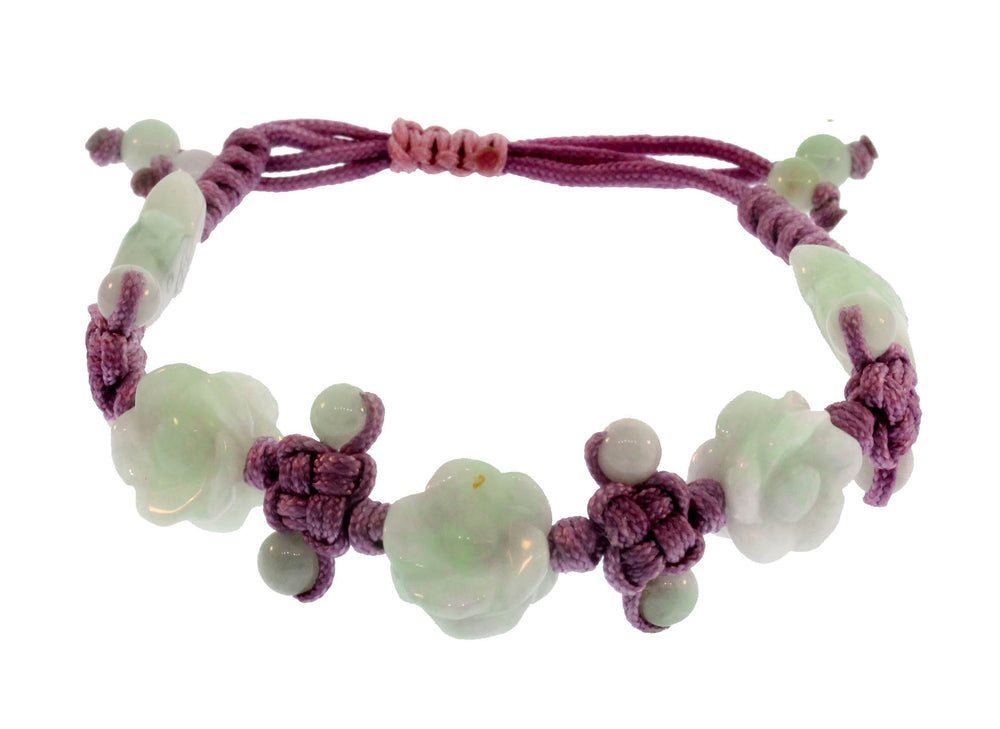 Jade Cherry Blossom and Fish Bracelet