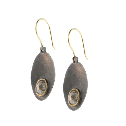 Gold and Oxidized Sterling Silver Diamond Oval Earrings