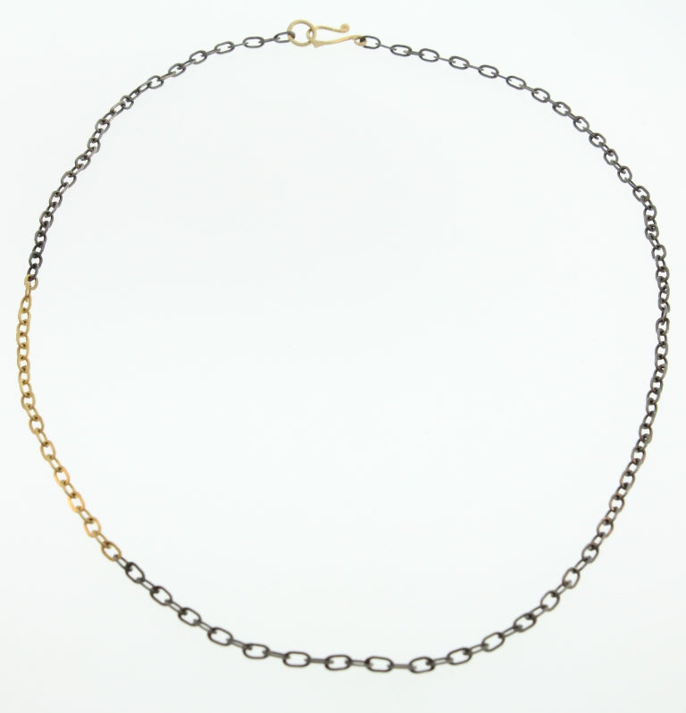OXIDIZED STERLING SILVER AND 22K YELLOW GOLD BABY OVAL CHAIN