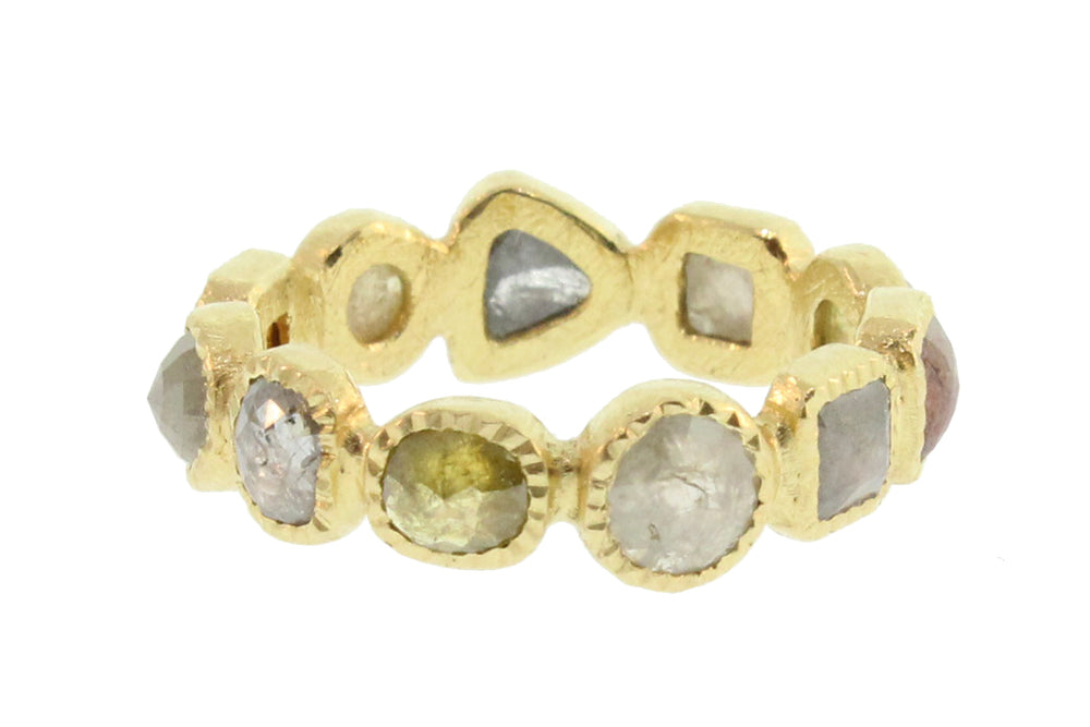 Various Shaped Natural Colored Diamond Band