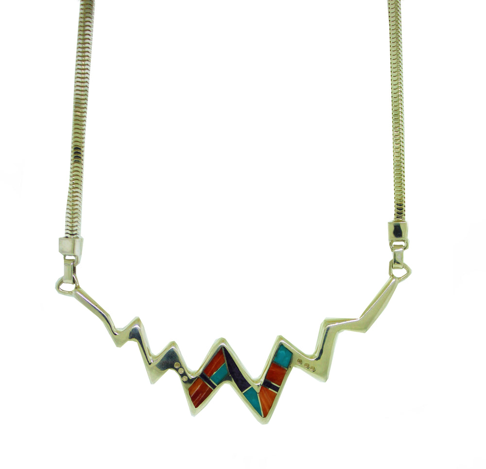 Zig Zag Multi Stone Necklace