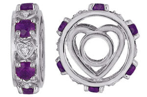 W-91 White Gold Fancy Large Amethyst and Diamond Wheel