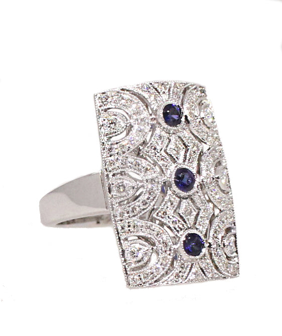 Sapphire and Diamond Vertical Deco Ring